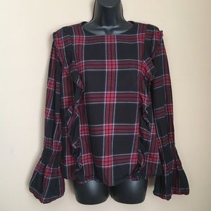 Plaid Flannel Bell Sleeve Ruffle Long Top
